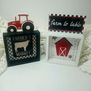 Farmhouse Farm To Table Wood Signs Red Tractor